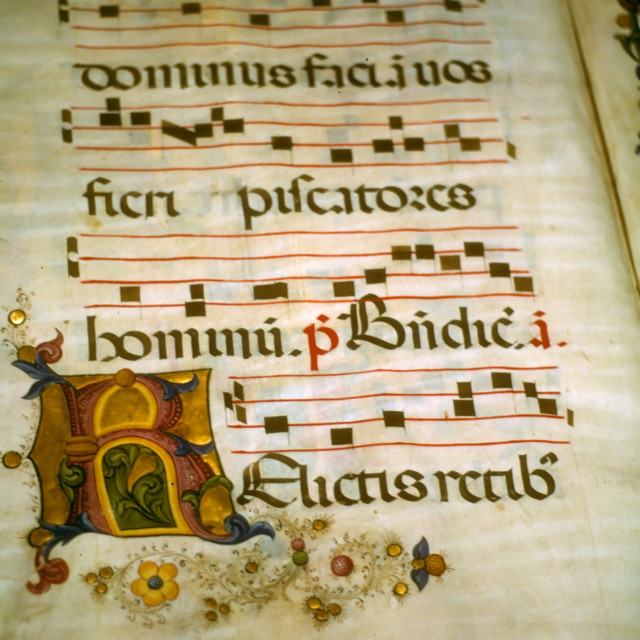 """""""Illuminated manuscript, in medieval library"""" stock image"""