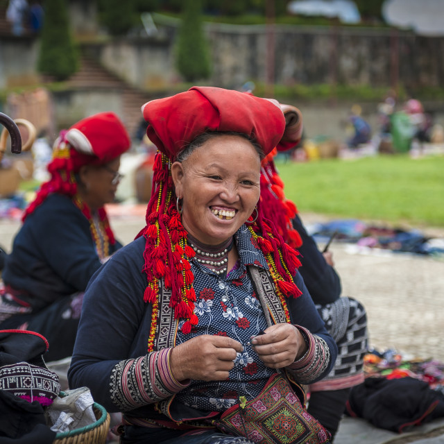 """Yao woman with her traditional hat at Sa Pa market"" stock image"