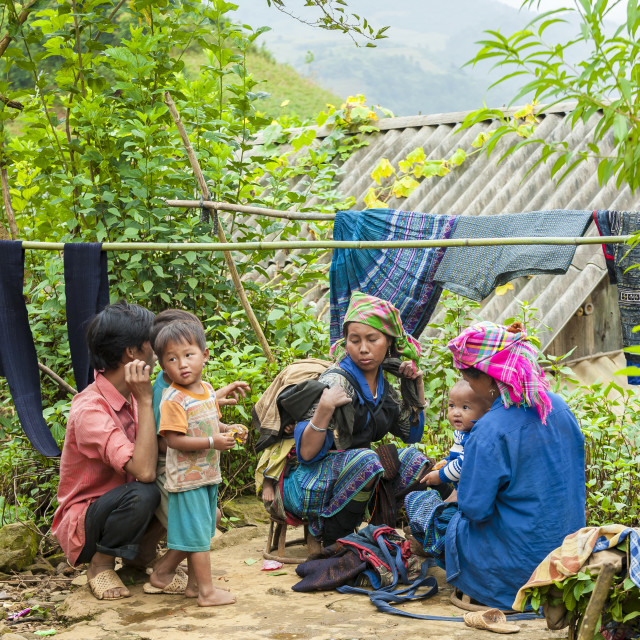 """A Hmong family in Sa Pa"" stock image"