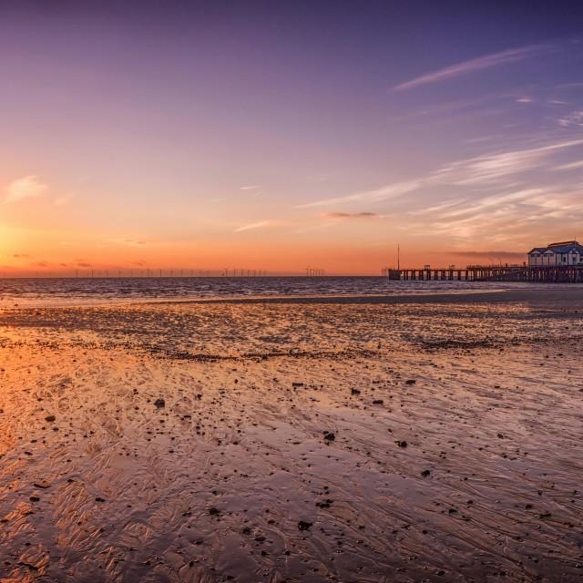 """Clacton Pier at Sunrise"" stock image"