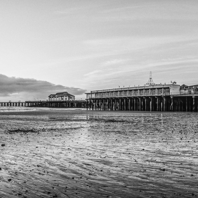 """""""Clacton Beach in Black and White"""" stock image"""