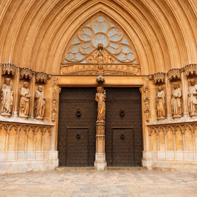"""""""The grand door and facade of Tarragona Cathedral, Catalonia"""" stock image"""