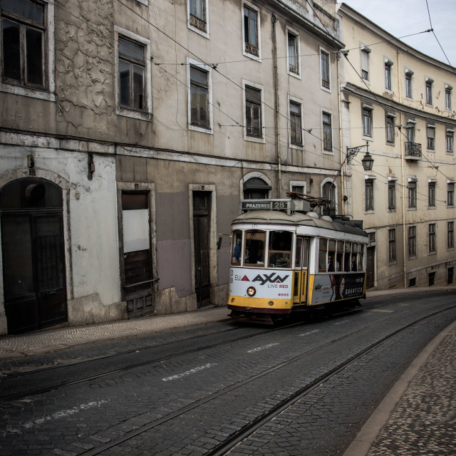 """Tram and old houses, Lisbon"" stock image"