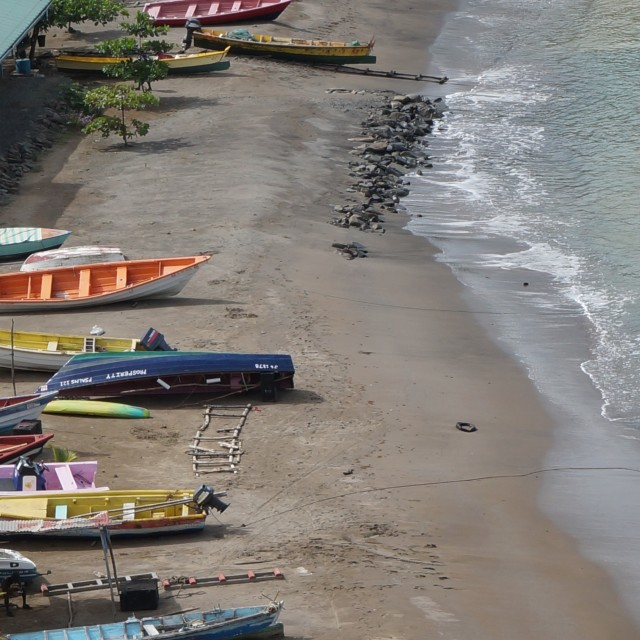 """Colorful boats on the beach"" stock image"