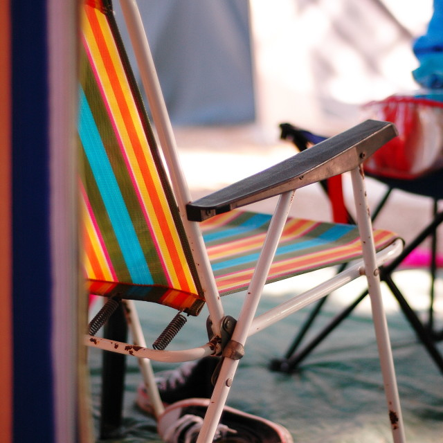 """Camping sun lounger"" stock image"