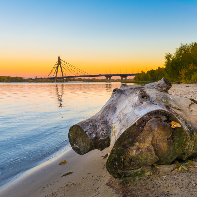 """""""The Dnieper River at Dusk in Autumn"""" stock image"""