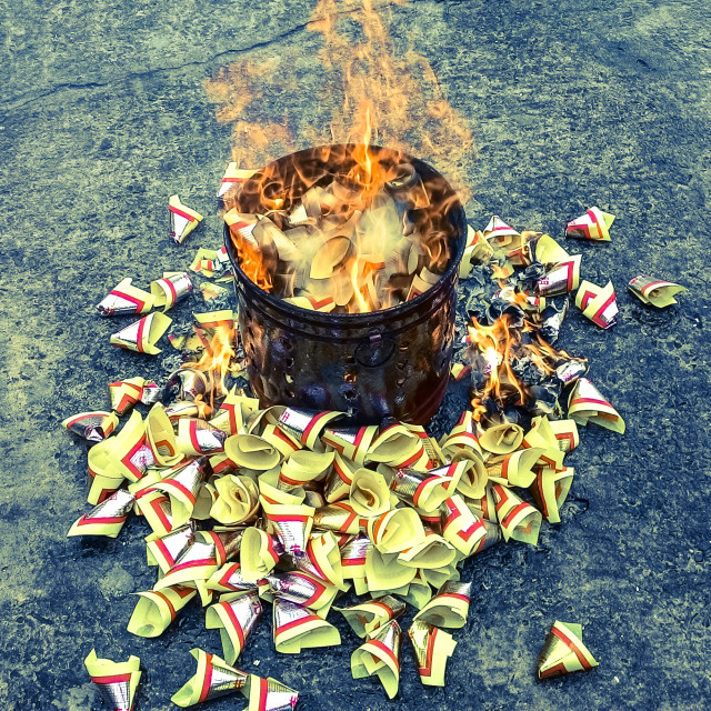 """Burning Joss Paper"" stock image"