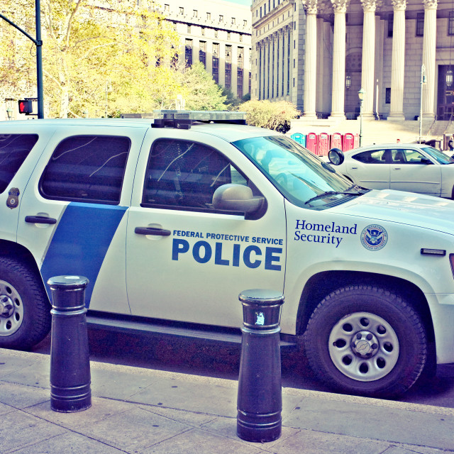 """""""Homeland Security Federal Police Car."""" stock image"""