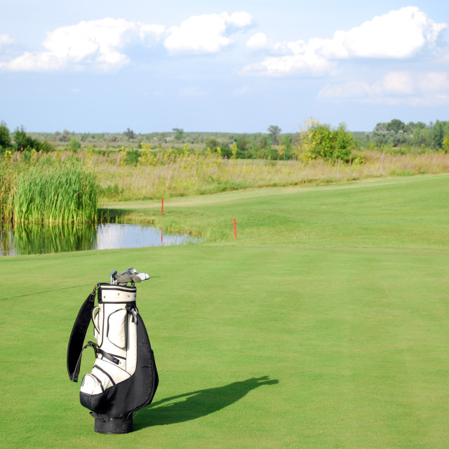 """""""white golf bag on golf course"""" stock image"""