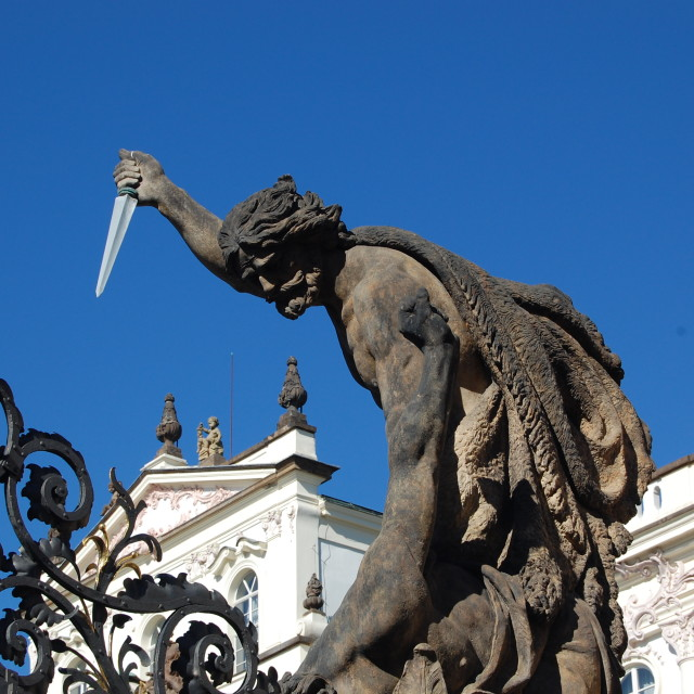 """Statue at gates of Prague Castle"" stock image"