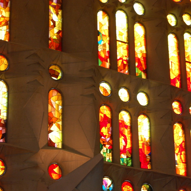 """Red Stained Glass Sagrada Familia"" stock image"