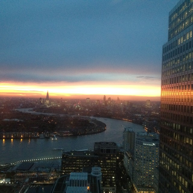 """Sunset from Canary Wharf"" stock image"