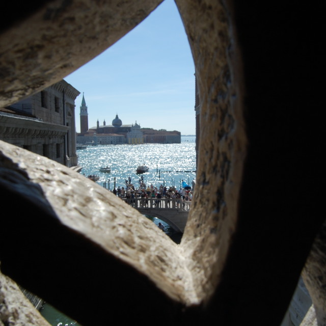 """Prisoner's View From Inside the Bridge of Sighs"" stock image"