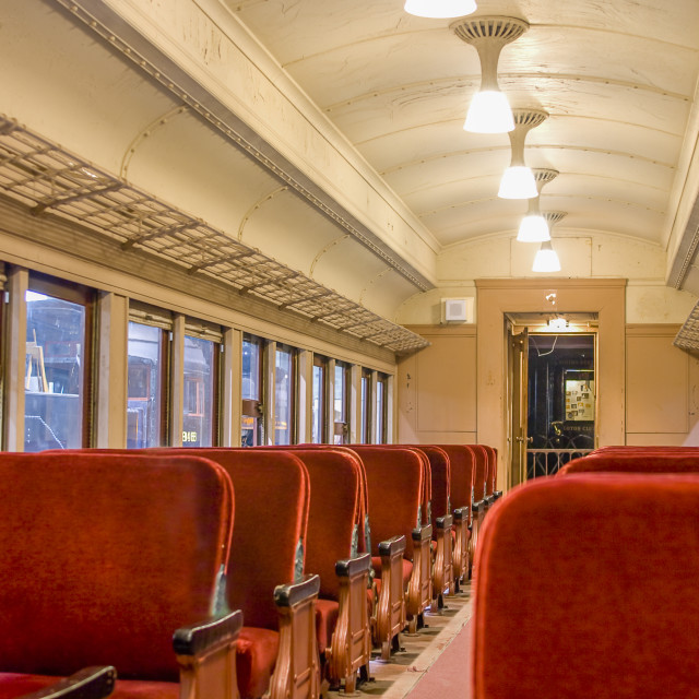 """Interior of a Pullman train of 1930's"" stock image"