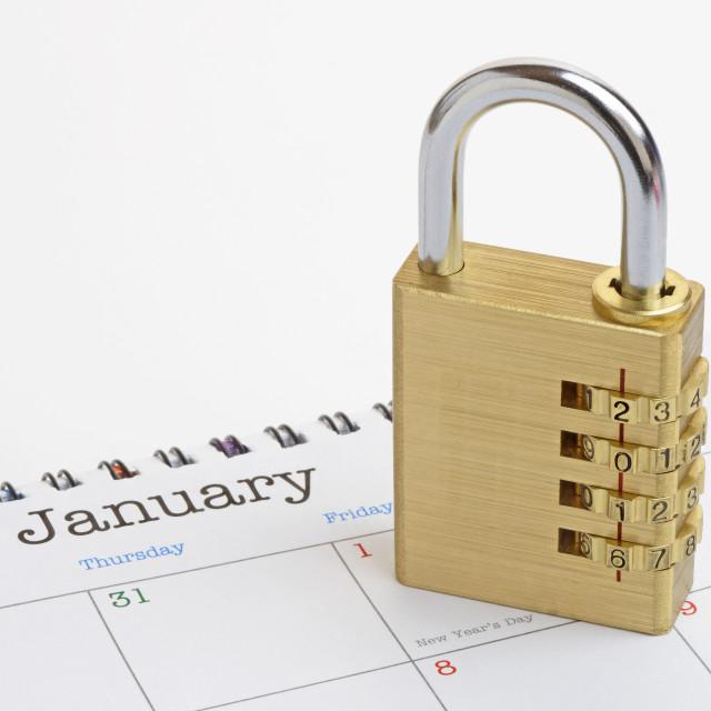 """New Year Padlock on a Generic 2016 Calendar"" stock image"