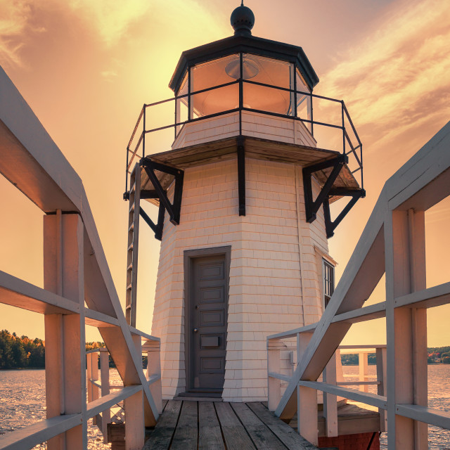 """Doubling Point Lighthouse in New England"" stock image"