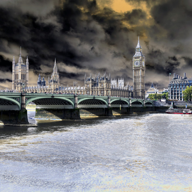 """""""Westminster Bridge and the Houses of Parliament."""" stock image"""