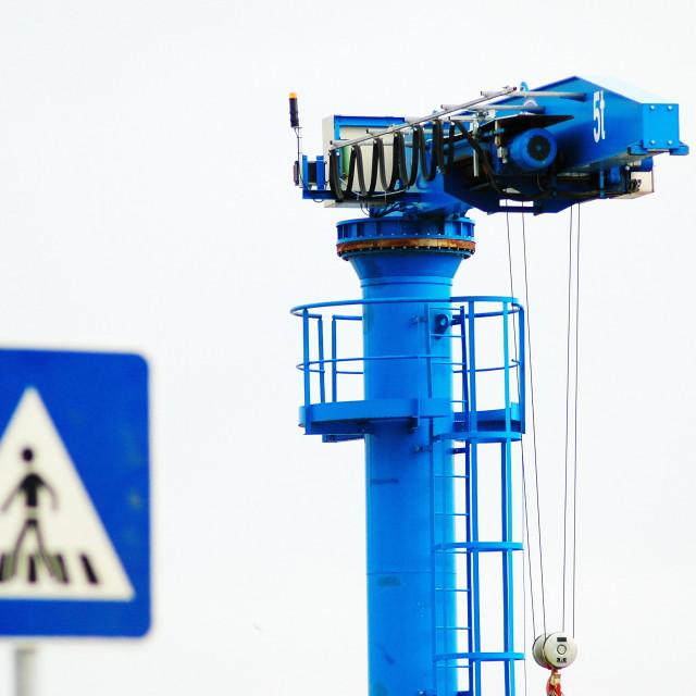 """Blue crane crosswalk"" stock image"
