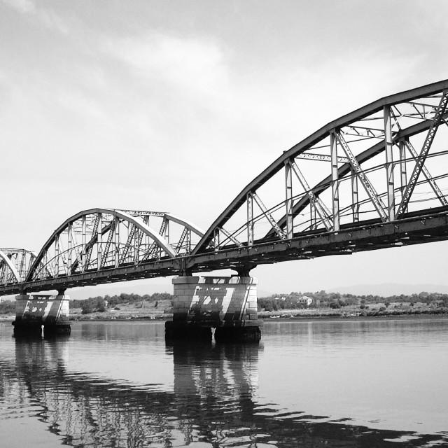 """""""Railway bridge with stone columns"""" stock image"""