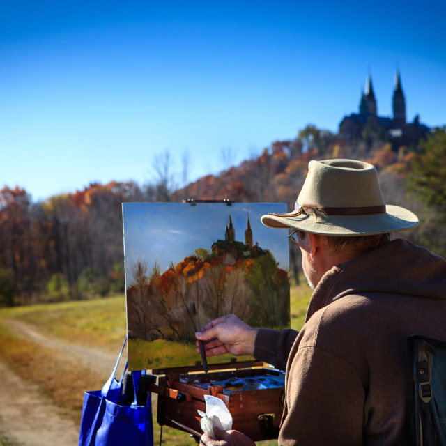 """""""Painter and Holly Hill"""" stock image"""
