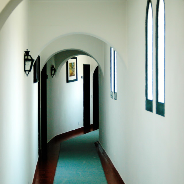 """Vintage hotel corridor"" stock image"
