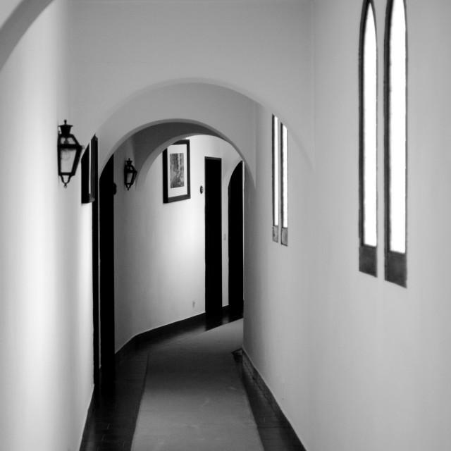 """Black and White Corridor"" stock image"