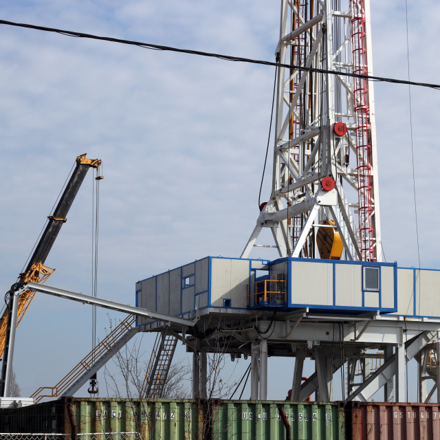 """""""oil drilling rig and crane"""" stock image"""
