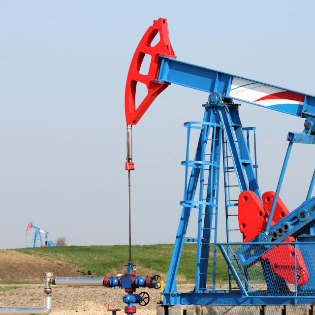 """oilfield with pump jack oil industry"" stock image"