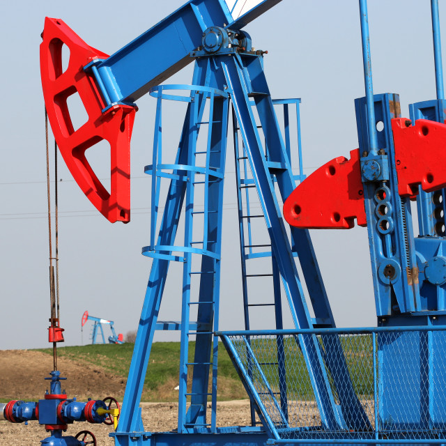 """""""oil industry pump jack close up"""" stock image"""