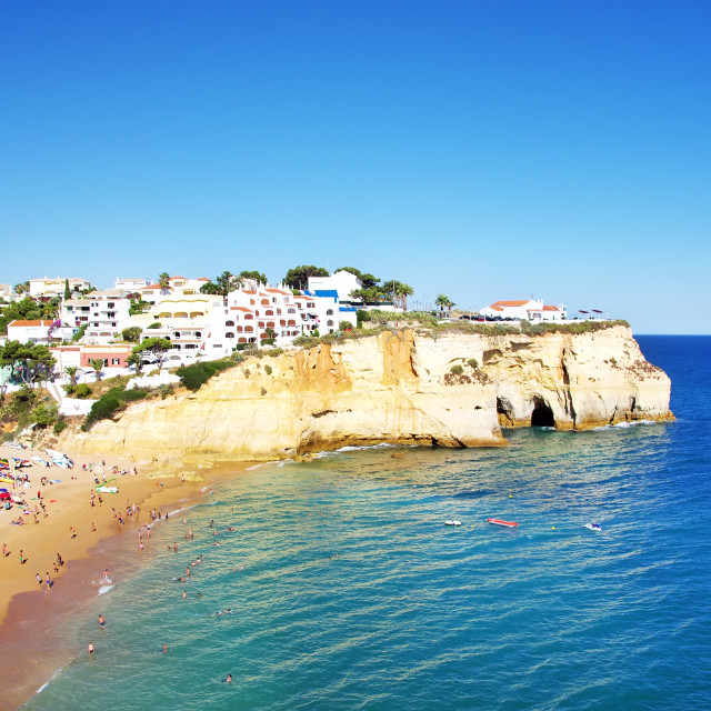 """View of beach with in Carvoeiro village, Portugal"" stock image"