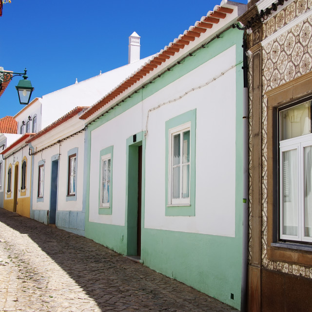 """street in an old fishing village, Algarve, Portugal"" stock image"