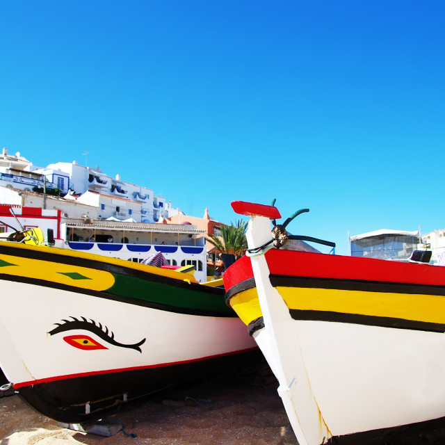 """fishing boats on the beach, Algarve, Portugal"" stock image"