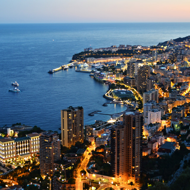 """""""View of the city of Monaco by night. French Riviera"""" stock image"""