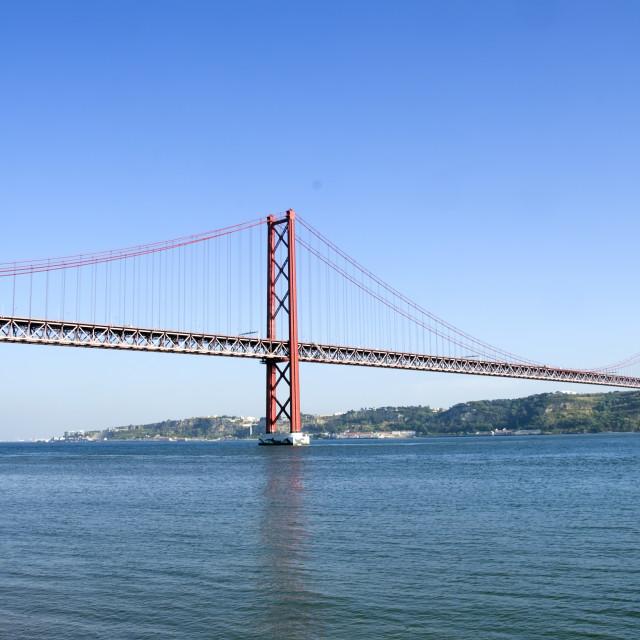 """""""bridge of 25th April over river Tajo, Portugal"""" stock image"""