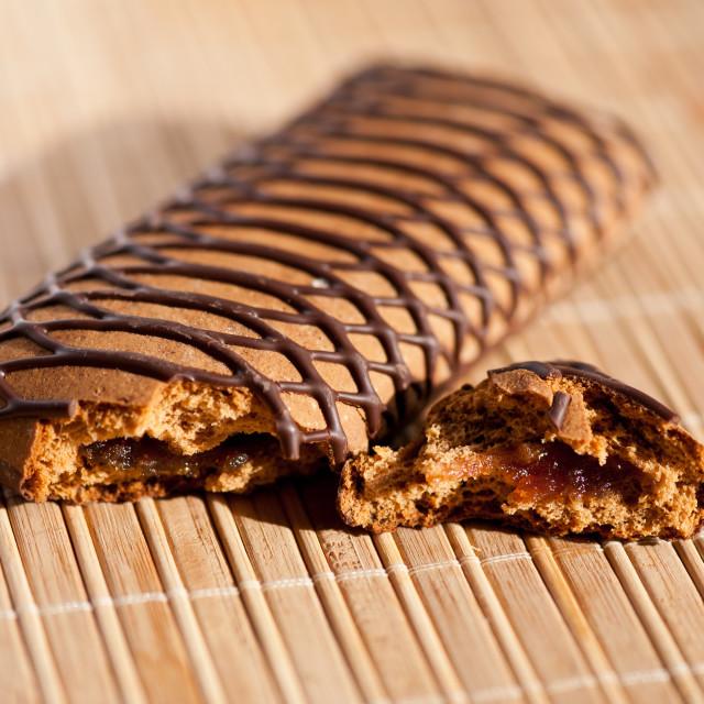 """Nibbled gingerbread sweet bar bit"" stock image"