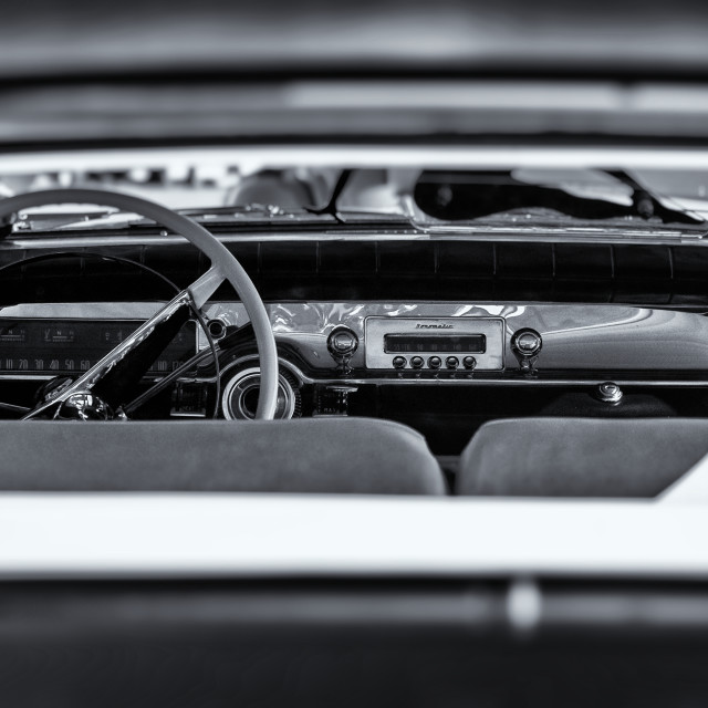 """Interior of a American Cadillac Car"" stock image"