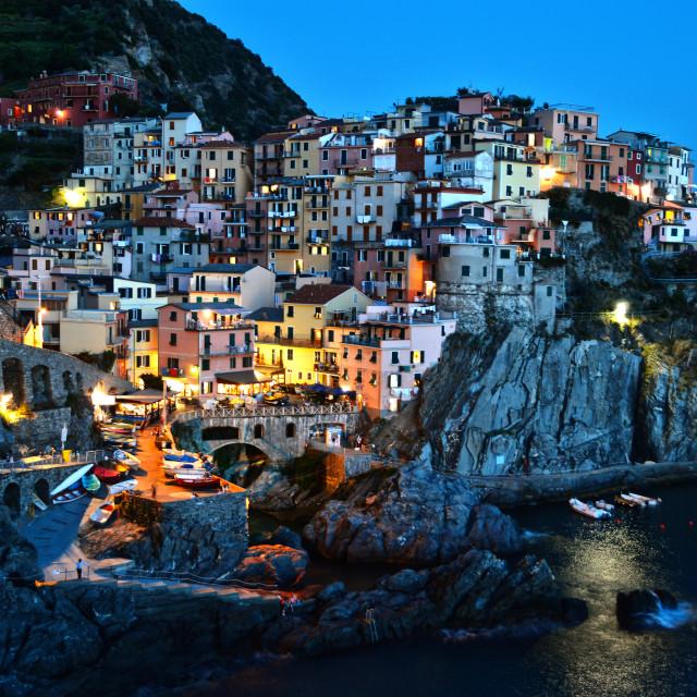 """Traditional Mediterranean architecture of Manarola, La Spezia, Liguria, Italy"" stock image"