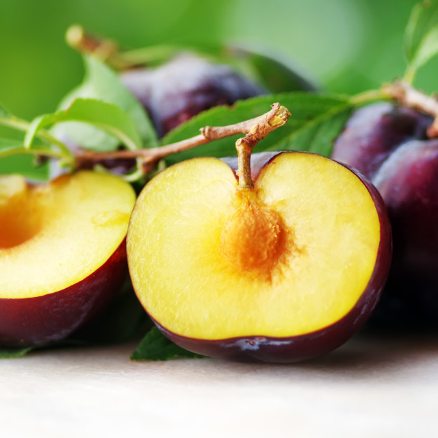 """slices of Plums on table"" stock image"