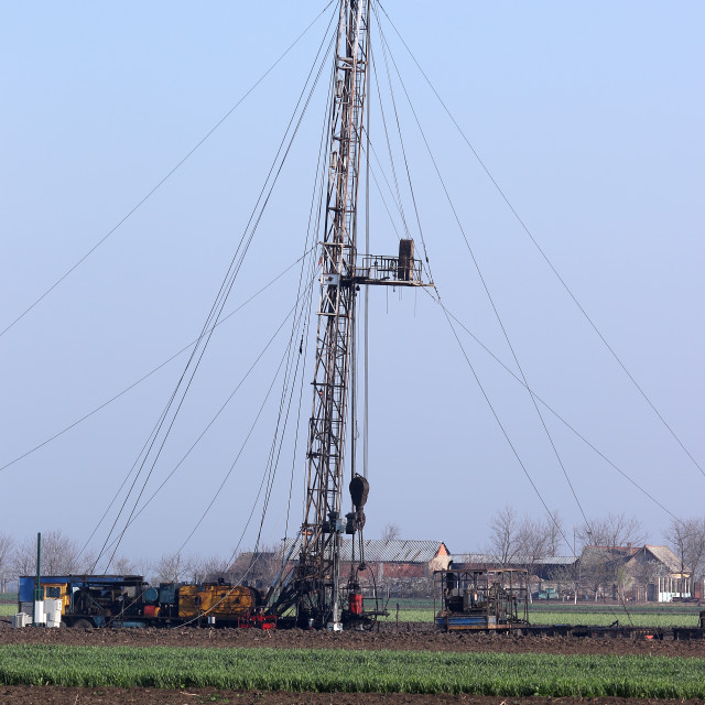 """""""oil drilling rig on oilfield"""" stock image"""
