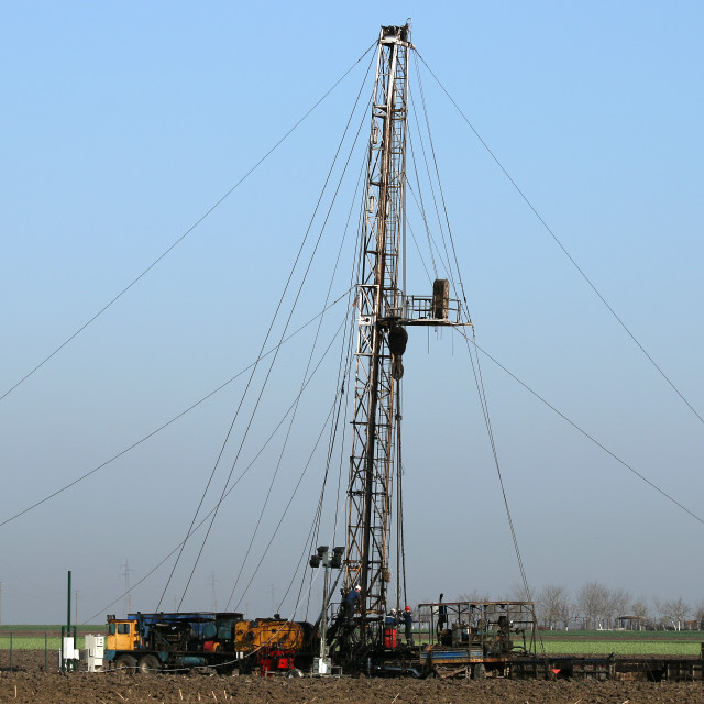 """""""oil workers with land drilling rig"""" stock image"""