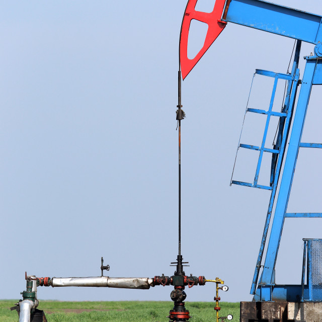 """""""oil pump jack and valve with pipeline"""" stock image"""