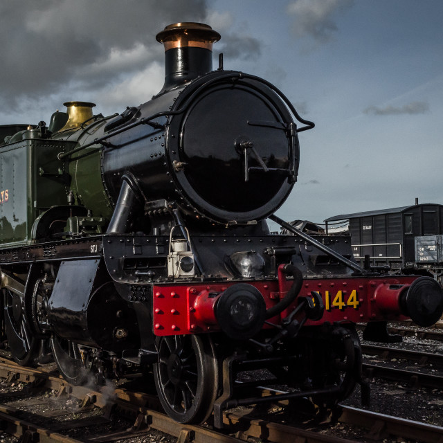"""Steam Train in Yard"" stock image"