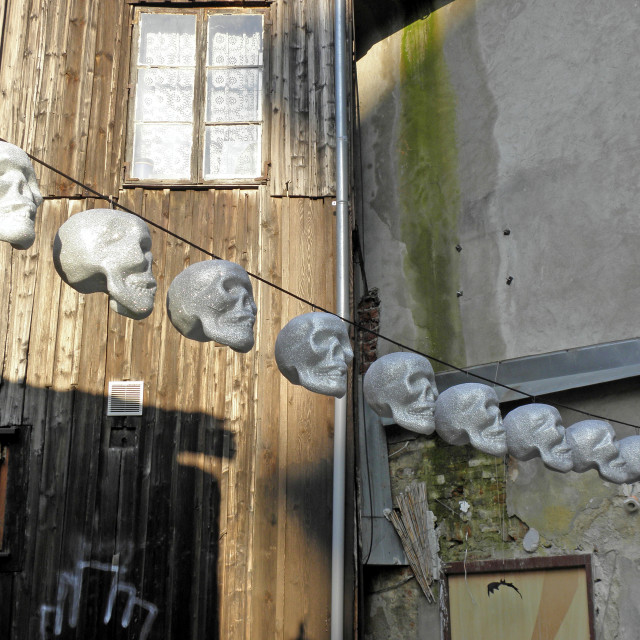 """Terryfying funny skulls, Halloween's instalation, Zagreb 2015., 2"" stock image"