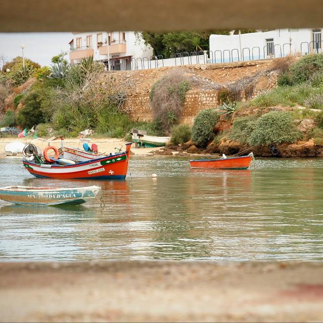 """""""Fishing boats in Ferragudo, Algarve, Portugal"""" stock image"""