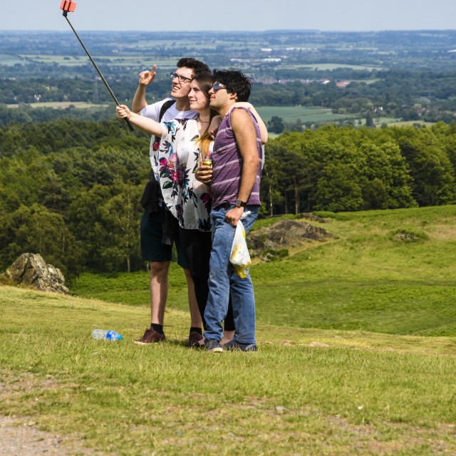 """""""3 Youths taking a selfie"""" stock image"""