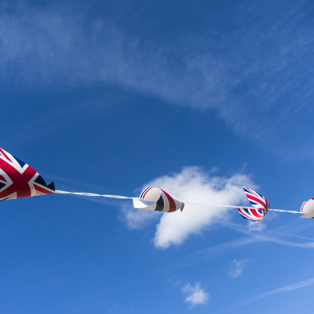 """""""Bunting against a blue sky"""" stock image"""