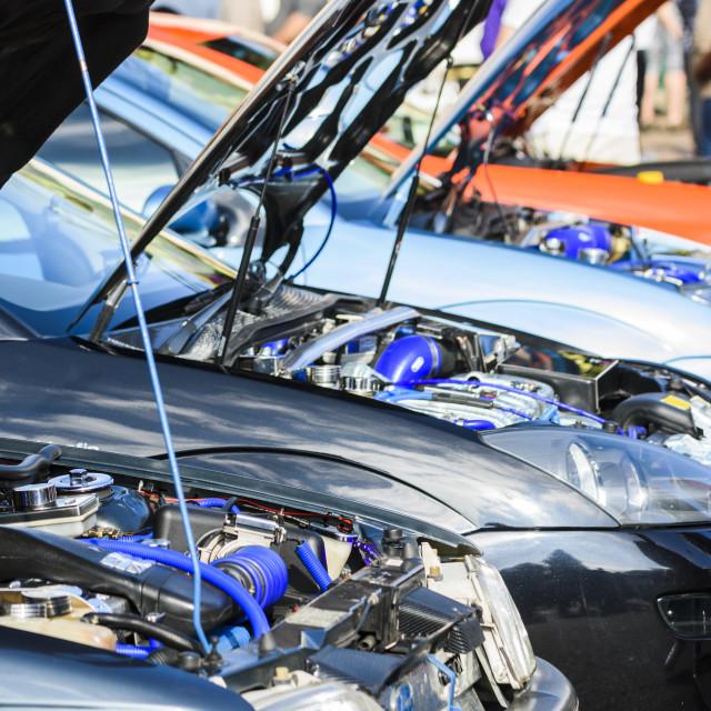 """""""Custom engines on display"""" stock image"""