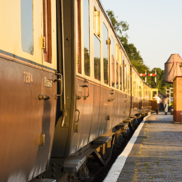 """""""GWR carriages in evening light"""" stock image"""