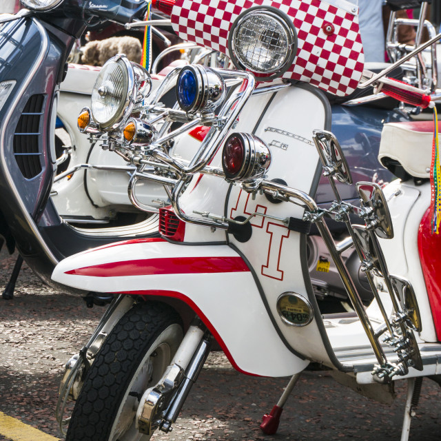 """""""Red and White Lambretta scooter"""" stock image"""