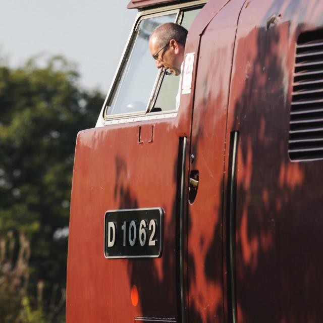 """Western Train Driver"" stock image"